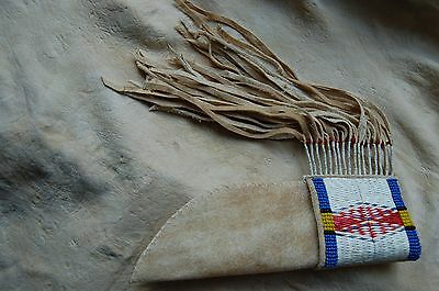 QUILLED AND BEADED KNIFE SHEATH pink,quillwork,beadwork,moccasins,pipebag