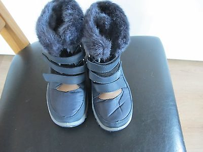 Good Quality Size 13 Blue Canvas Fur Boots For Kids From Tesco - New