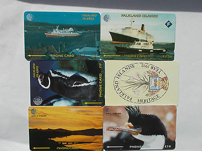 6 Used Phonecards from Falkland Islands