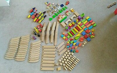 Wooden toys and train tracks
