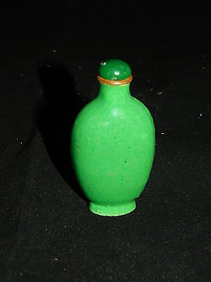 Antique 19th century Chinese green glaze pottery snuff bottle