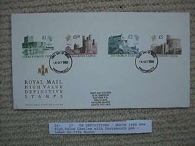 1988 HIGH VALUE CASTLES Illustrated First Day Cover Portsmouth pmk Booth 739a
