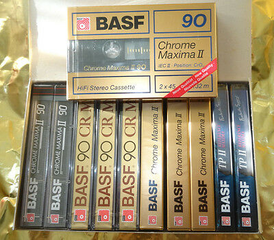 10 + 1 BASF Chrome&Reference Maxima II 90 Cassetten OVP in That`s Box sealed ©
