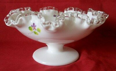 Fenton Milk Glass Ruffled Edge Comport, Footed Bowl, Violets, Stamped Fenton