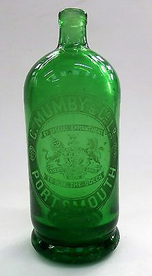 Mumby green glass soda syphon bottle. Etched labelBy appointment to HM the Queen