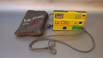 Vintage Yellow Le Clic Disk Film Camera 1980's Retro w/Carrying Case/Bag WORKS