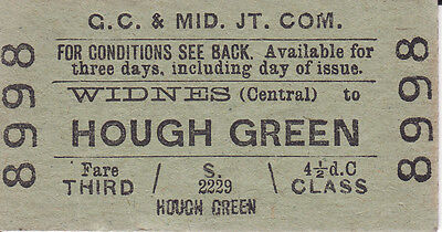 G.C.&Mid. Jt. Com. 3rd Class Ticket Widnes(Central) to Hough Green.