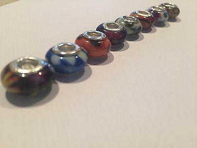 6 Genuine Sterling Silver And Glass Pandora/Troll/Chamilia Style charm Beads:.