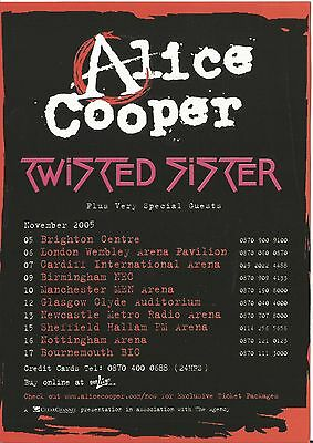 Alice Cooper Twisted Sister November 2005 UK tour flyer uniface
