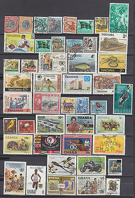 Africa-- A Small Collection Of 105 Used Stamps-Ghana-Kenya-Tanzania-Zaire-Uganda
