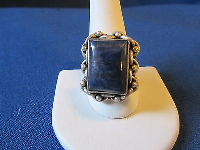 BEAUTIFUL VINTAGE LAPIS LAZULI RING..SILVER PLATED...sz 10.25..EX USED COND!
