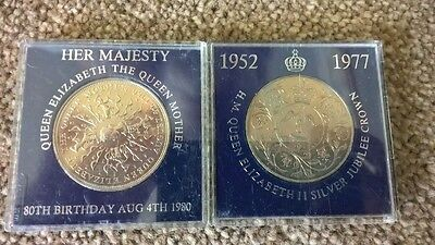 Silver Jubilee and Queen Mother 80th Coins