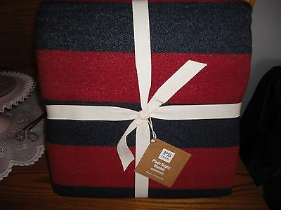NWT Pottery Barn Teen Plush Rugby full/queen blanket-red/navy-pretty!