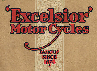 A guaranteed-original sales brochure from 1928 for Excelsior motorcycles.