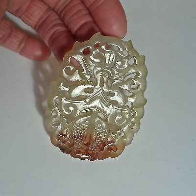 Intricate Antique 1800's Chinese Hand Carved Jade Jadeite Pendant/Adornment