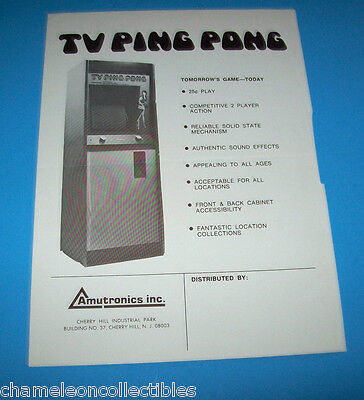 TV PING PONG By AMUTRONICS 1973 ORIGINAL VIDEO ARCADE GAME SALE FLYER PONG CLONE