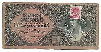 1000 pengo Hungary banknote with stamp(MNB), ND(1945), VF