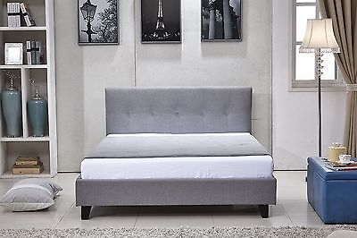 Auckland Modern Fabric 4FT6 Double/King Size Bed Sleigh Bed + Memory Foam Mattre