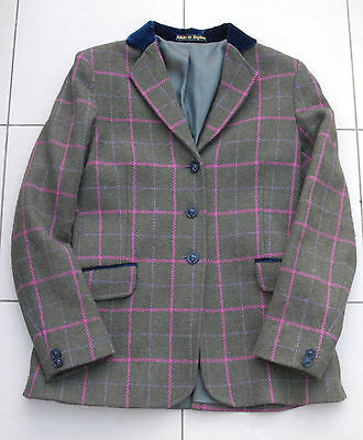 "PRETTY PONIES tweed show jacket 30""  purple and pink on green navy collar"