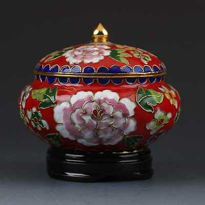 Chinese Cloisonne Hand-painted Flower Teapot G380