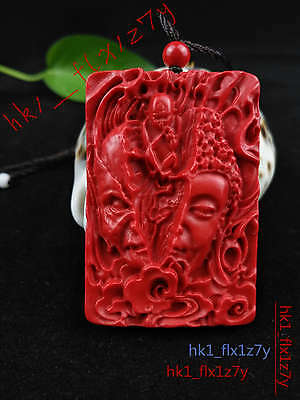 Chinese Natural Red Organic Cinnabar Devil Necklace Pendant Lucky Amulet Hot