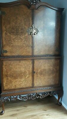 Antique Art Deco Burr Walnut Cocktail Cabinet