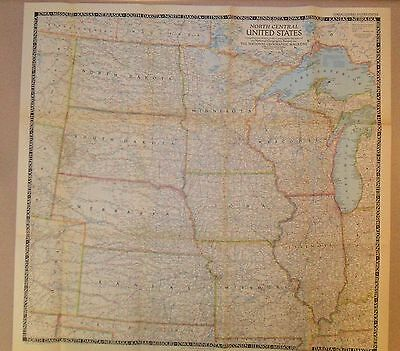 """1948 National Geographic Map NORTH CENTRAL United States, 28"""" X 26-1/2"""""""