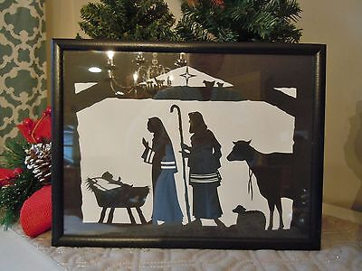 Vintage Framed Paper cut,  cut out black Silhouette CHRISTMAS Nativity Scene