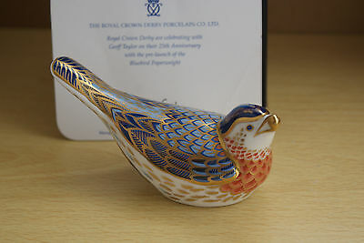 Geoff Taylor Bluebird - Royal Crown Derby Porcelain - Paperweight - Gold Stopper