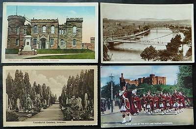 INVERNESS 4 Postcards - Castle, Tomnahurich Cemetery, The Ness & Soldiers