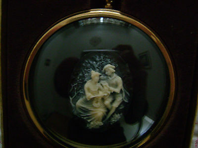 Peter Bates Miniature Boy And Girl In Cameo Plaque Boxed