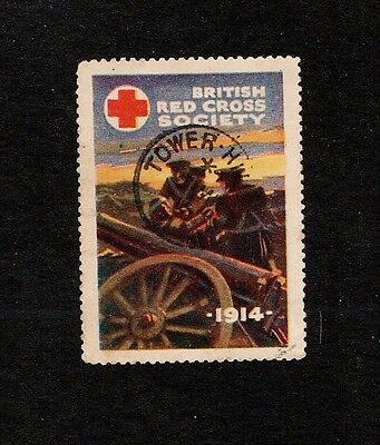Red Cross stamp, 1914, postmarked Tower Hill.