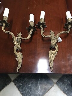 Vintage French solid bronze wall lights