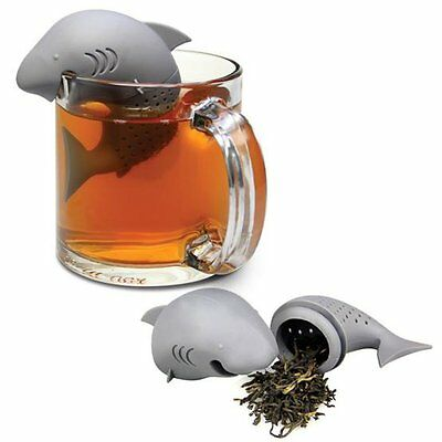 NEW Mr Shark Tea Infuser Cool Cute Quirky Silicone Strainer Gift RRP £9.99 - UK