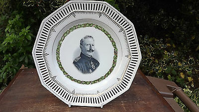 Vintage World War 1 Kaiser Wilhelm large china ribbon plate with super portrait