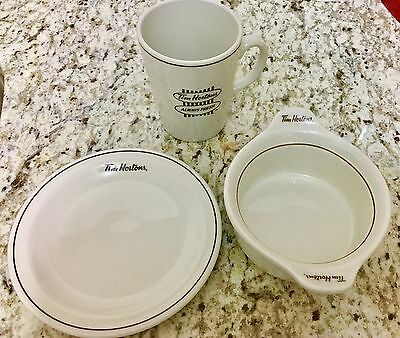 Set Of 3 Tim Hortons Dishes. Coffee Cup, Bowl & Plate