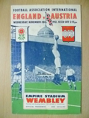 1951 Official Programme- ENGLAND v AUSTRIA (Friendly at Wembley)