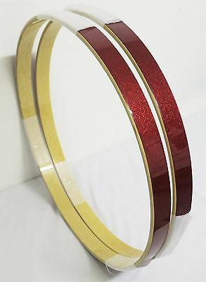 "NEW Set High-Quality Full MAPLE 22"" BASS DRUM HOOPS, RED SPARKLE LAQCUER FINISH"