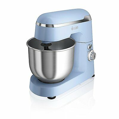 Swan Vintage Retro Stand Mixer, 4.2 Litre, 600 W, Blue. Steel Bowl, Hook & Whisk