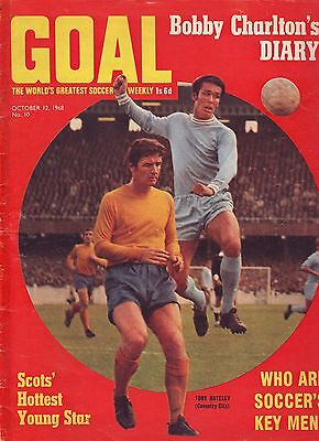 Goal Football Mag Oct 1968 Bobby Charlton  Diary, Spurs Colour Team Pic Vgc