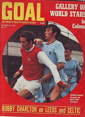 Goal Football Mag Oct 1969 Gallery Of World Stars  Pics Charlton Column, Vgc