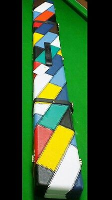 3/4 Wide Leather Cue Case Multi Colour Fits Extensions And Mini Butt