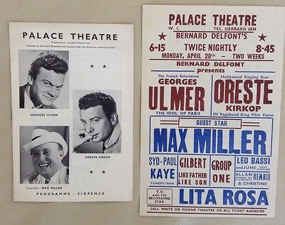 1956 MAX MILLER at the Palace Theatre. Programme and poster. Magnificent.