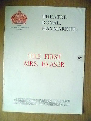 1922 Theatre Royal Programme- Marie Tempest, H Ainley in THE FIRST MRS. FRASER