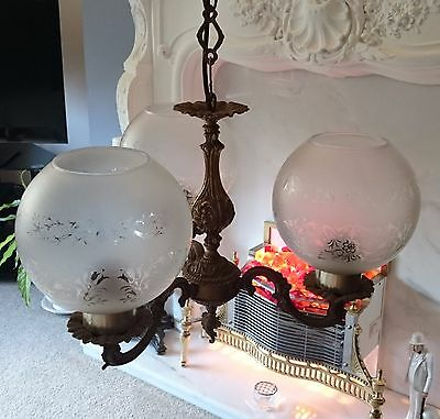 Vintage Brass And Glass Three Globe Shade Pendant Ceiling Light
