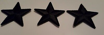 3 x Black Stars Iron on Sew On Patches Military General Style