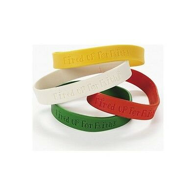 """24 """"Fired Up For Faith!"""" Rubber Bracelets Christian Wrist Bands"""