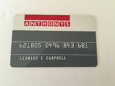 Vintage Retail Charge Credit Card R13 Anthonys