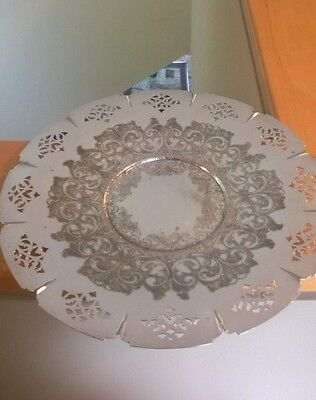 """Wm Rogers 12-1/2"""" Silver Plated Round Tray With Cut Out Pattern"""