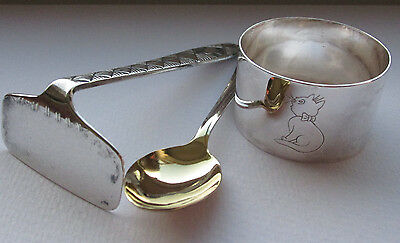 silver plate vintage baby spoon, pusher, and ring